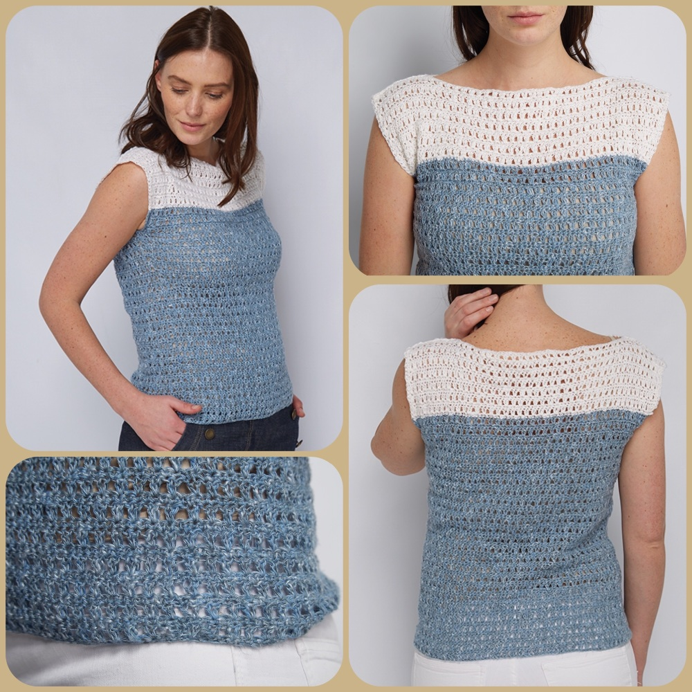 Dmc natura linen two-tone shelly top crochet pattern 4 pictures