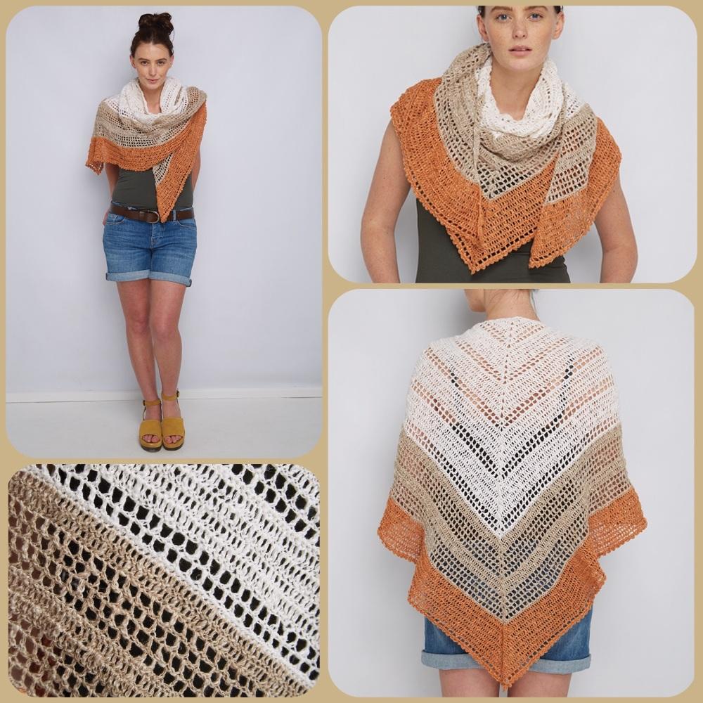Dmc natura linen sundowner shawl crochet pattern 4 pictures