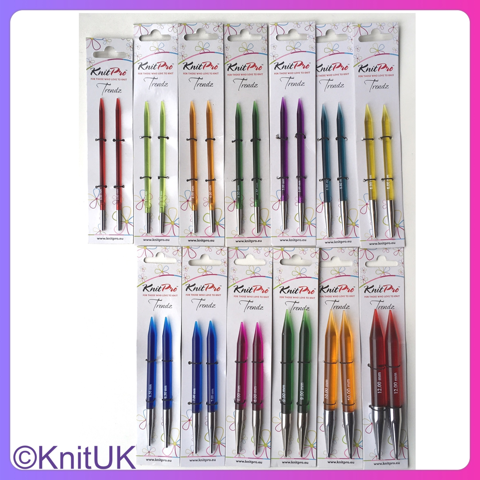 KnitPro Trendz interchangeable knitting needles sizes packaging