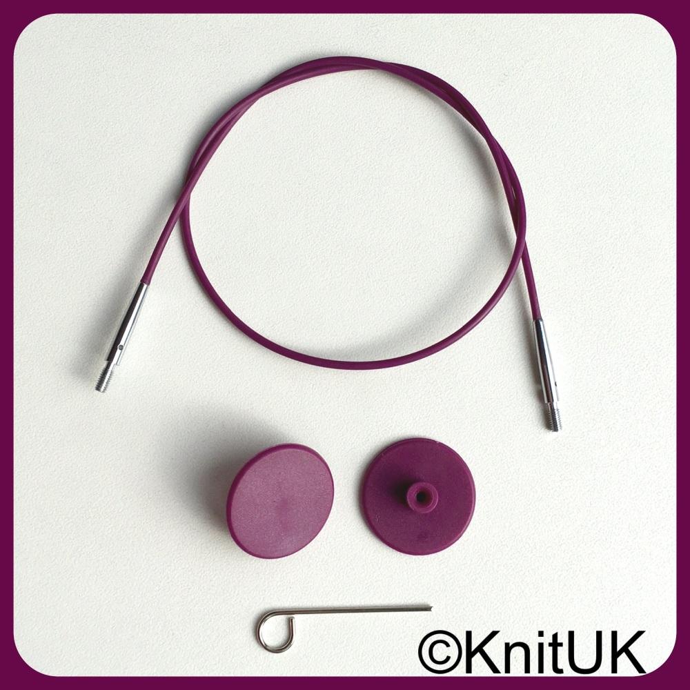 Cables: interchangeable needles & hooks. KnitPro Purple Silver. Choose unit