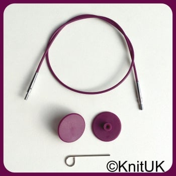 Cables: interchangeable needles & hooks. KnitPro Purple Silver. Choose length
