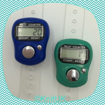 KnitUK Tally Counter Pack of 2 LCD Finger-Held Digital Row Counters. Black & Silver. Blue & Teal.