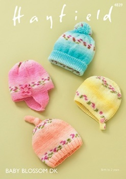 Hayfield pattern: Baby Hats in Hayfield Baby Blossom DK. Leaflet ( Knitting)
