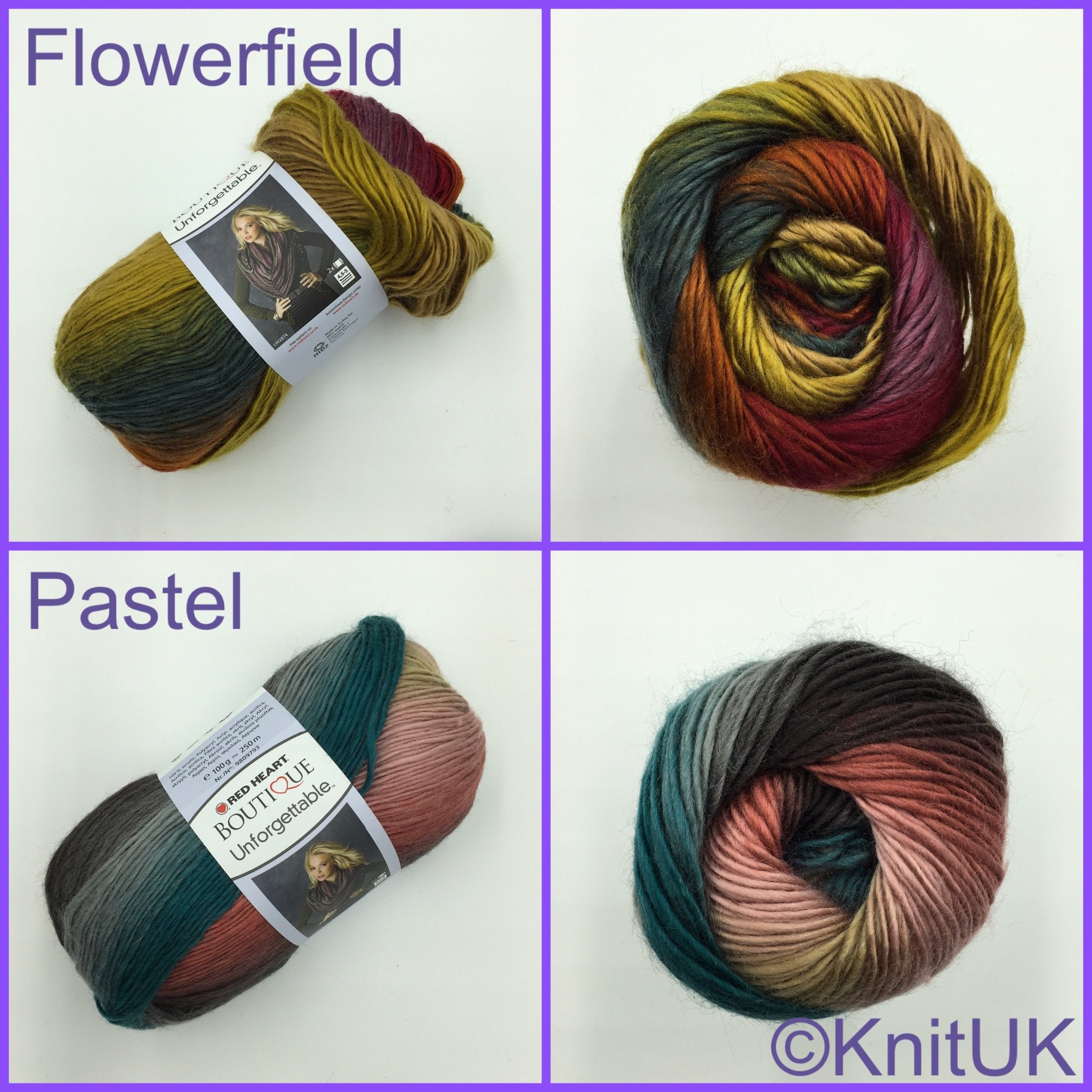 Red Heart Unforgetable yarn colour flowerfield pastel