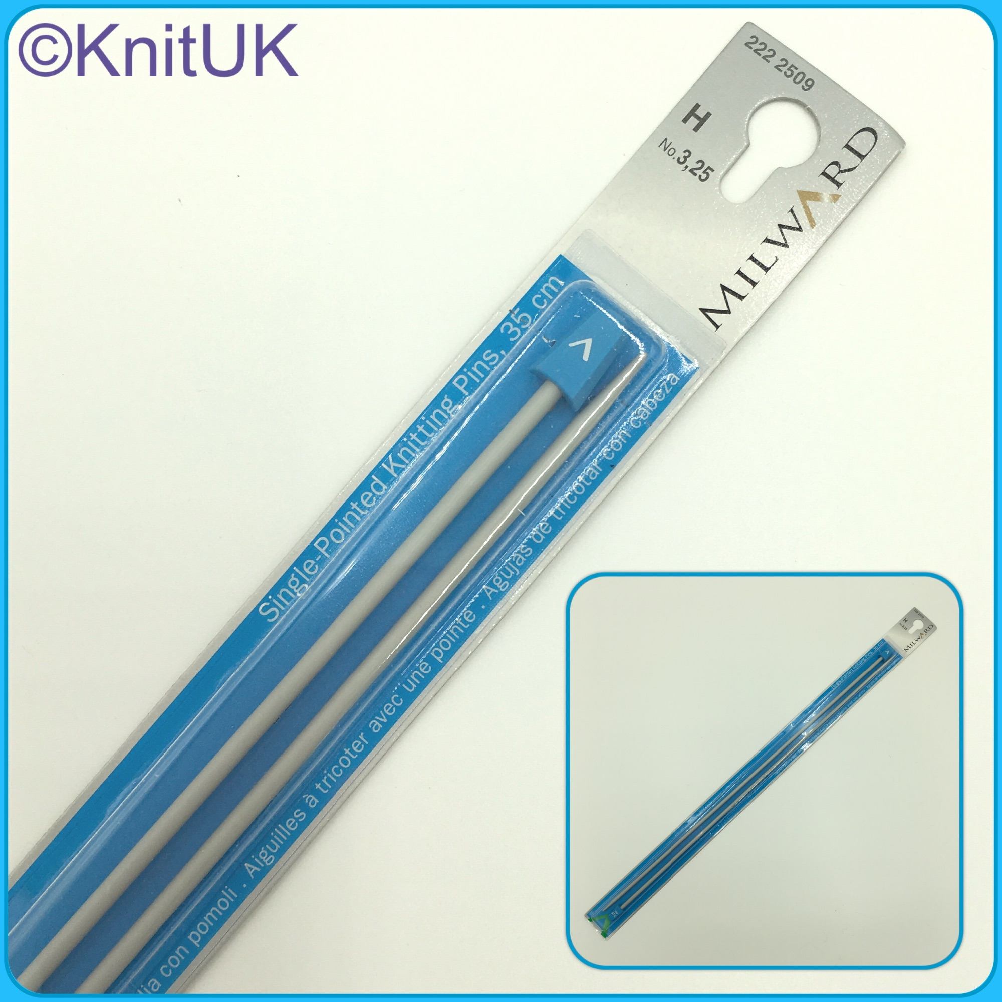Milward 35cm knitting needles single point aluminium pins 2 pictures