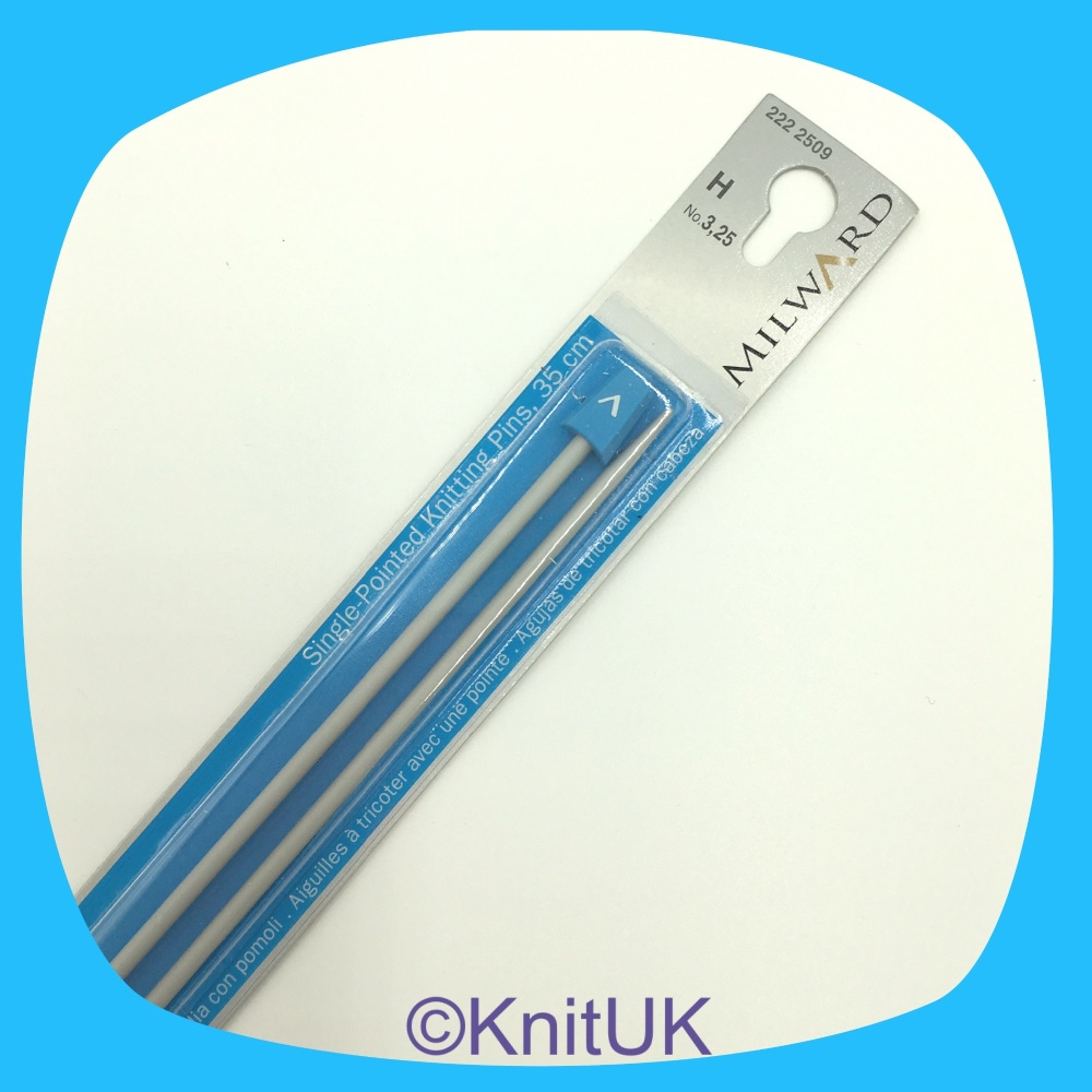 Milward 35cm Single Point Needles. Aluminium (sizes 2.0mm to 5.0mm)