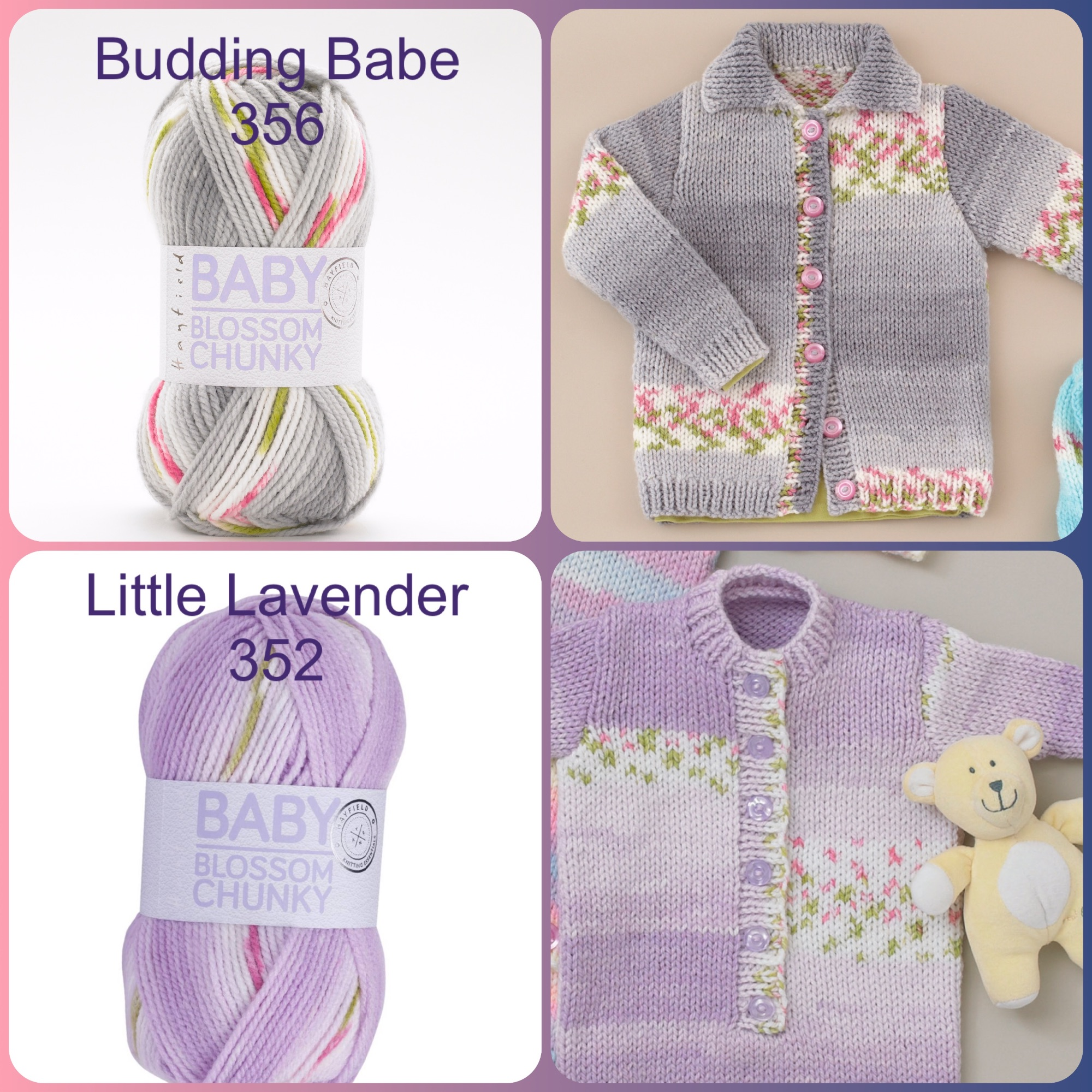 Hayfield baby blossom chunky yarn budding babe little lavender colours and