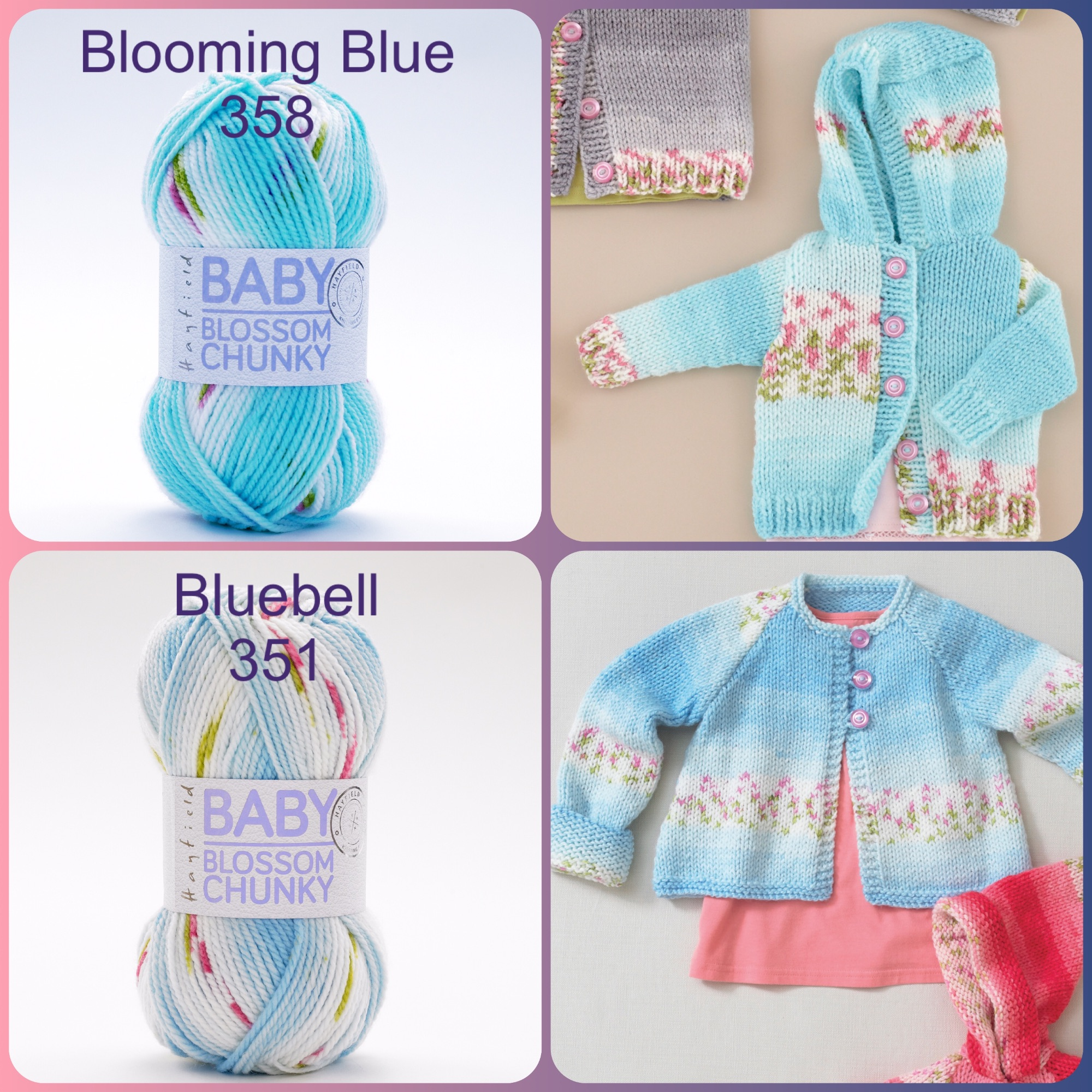 Hayfield baby blossom chunky yarn blooming blue bluebell colours and knitti