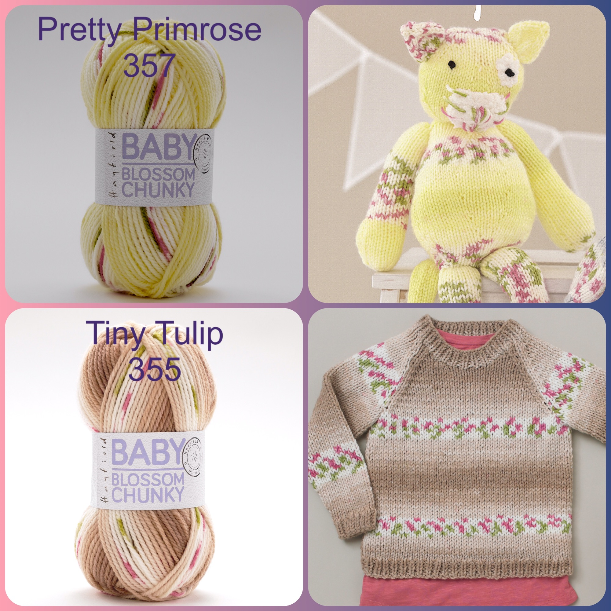 Hayfield baby blossom chunky yarn pretty primrose tiny tulip colours and kn