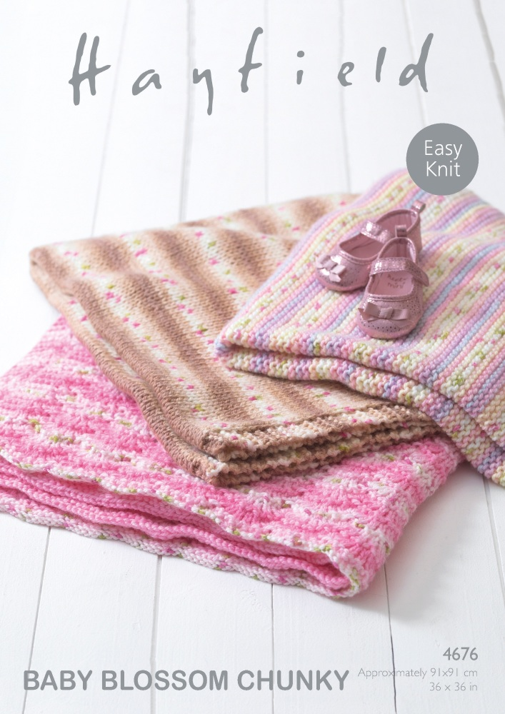 Baby Blankets in Hayfield Baby Blossom Chunky | KnitUK