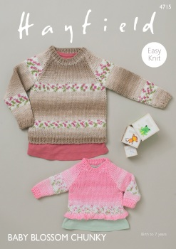 Hayfield pattern: Sweaters in Hayfield Baby Blossom Chunky. Leaflet ( Knitting)