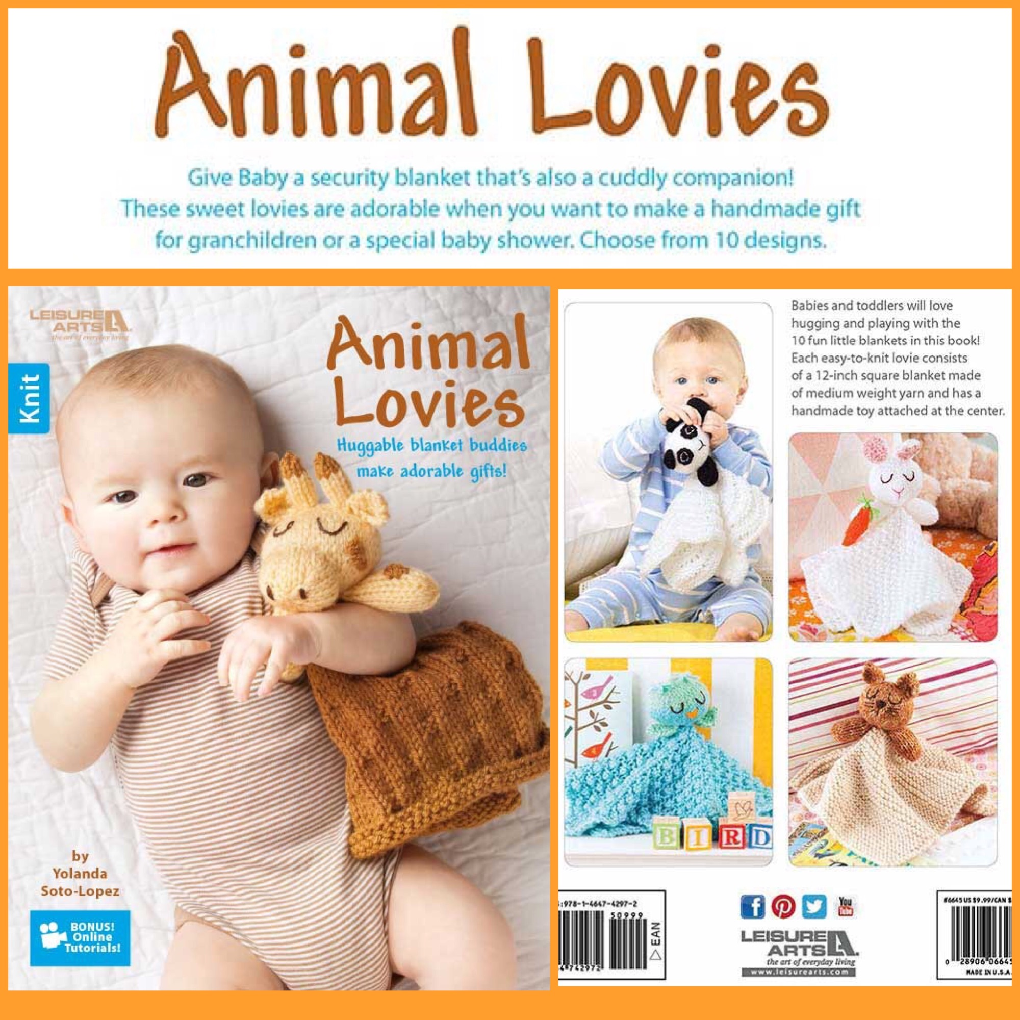 Leisure Arts Animal Lovies book by Yolanda Soto-Lopez. Baby blankets buddie