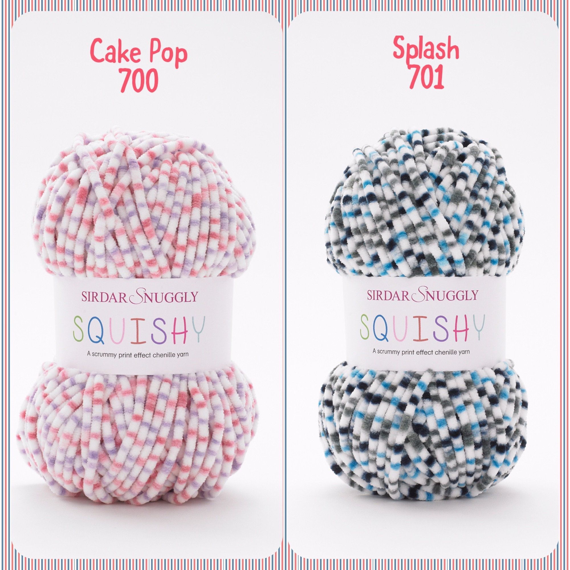 Sirdar snuggly squishy baby chunky yarns cake pop splash colours