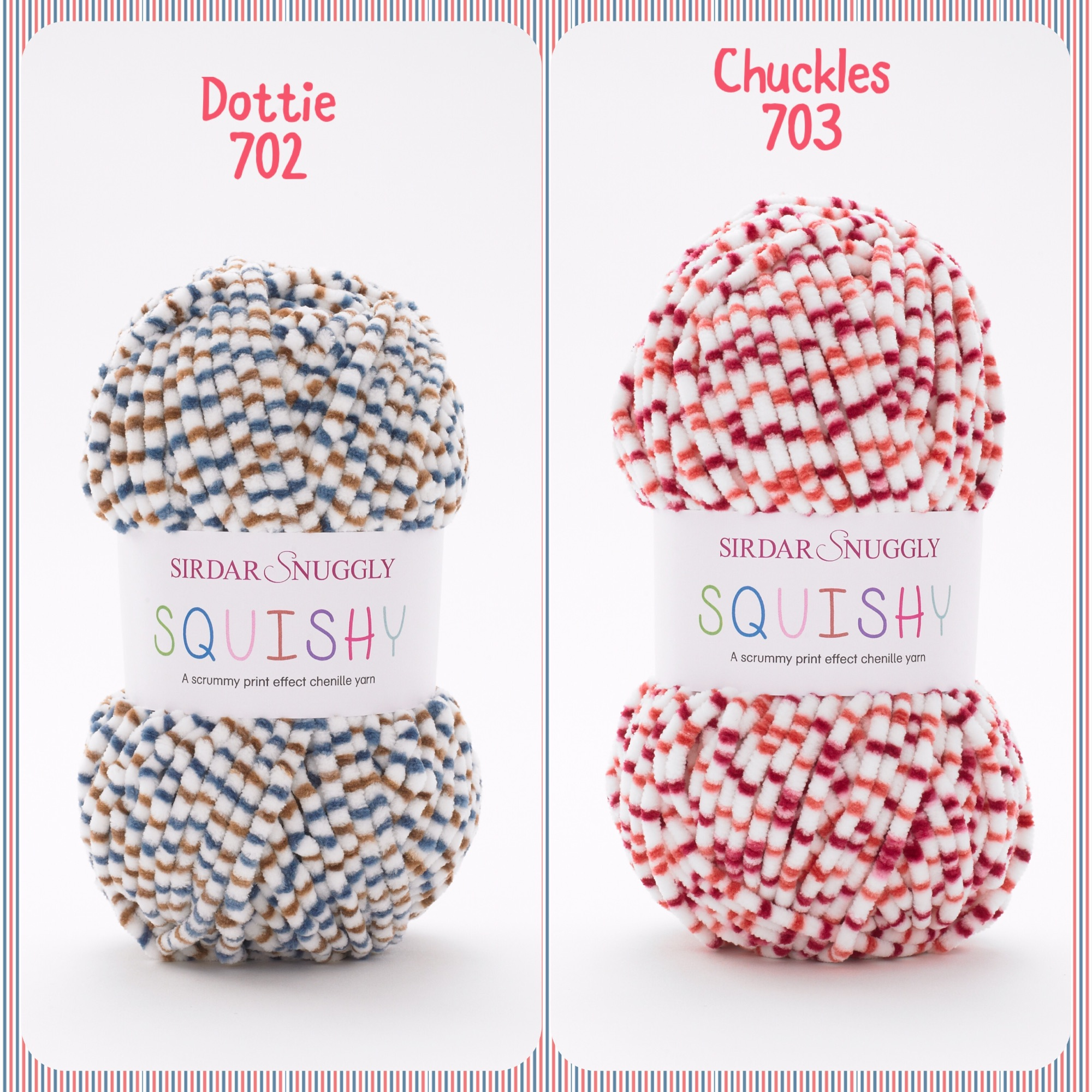 Sirdar snuggly squishy baby chunky yarns Dottie chuckles colours