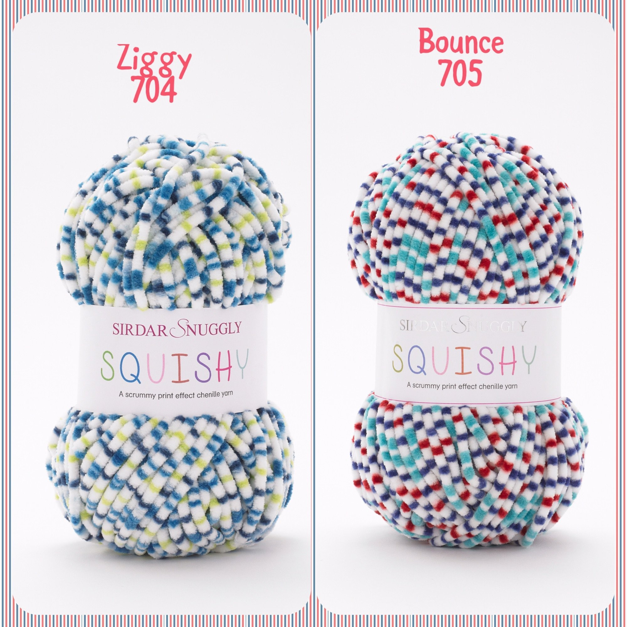 Sirdar snuggly squishy baby chunky yarn ziggy bounce colours