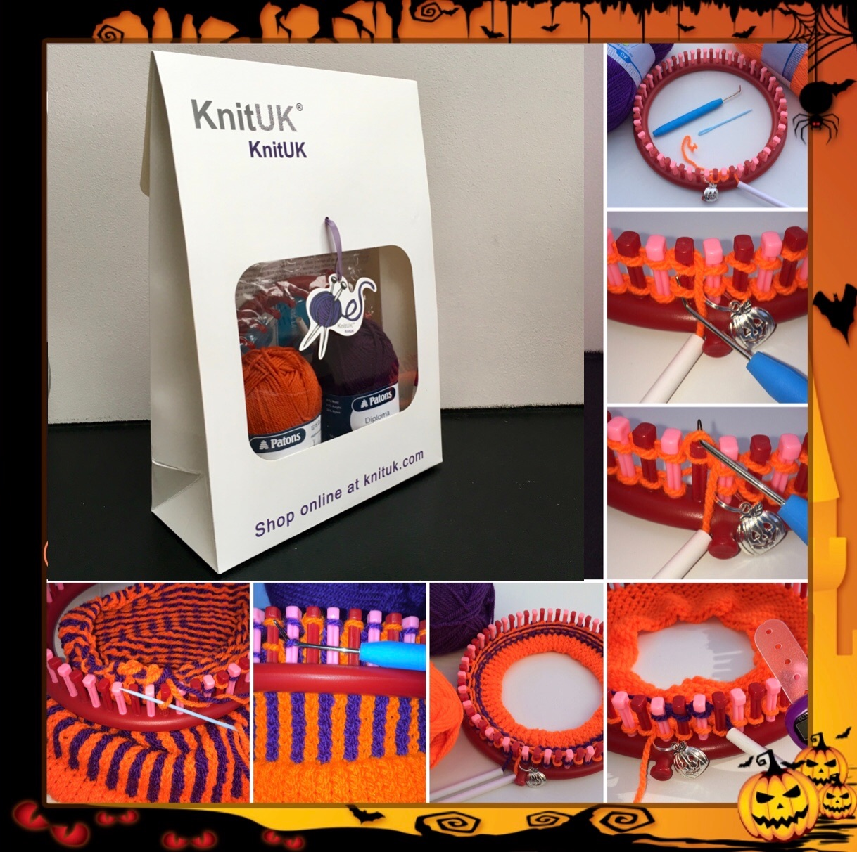 Knituk Halloween hat kit how to loom knit