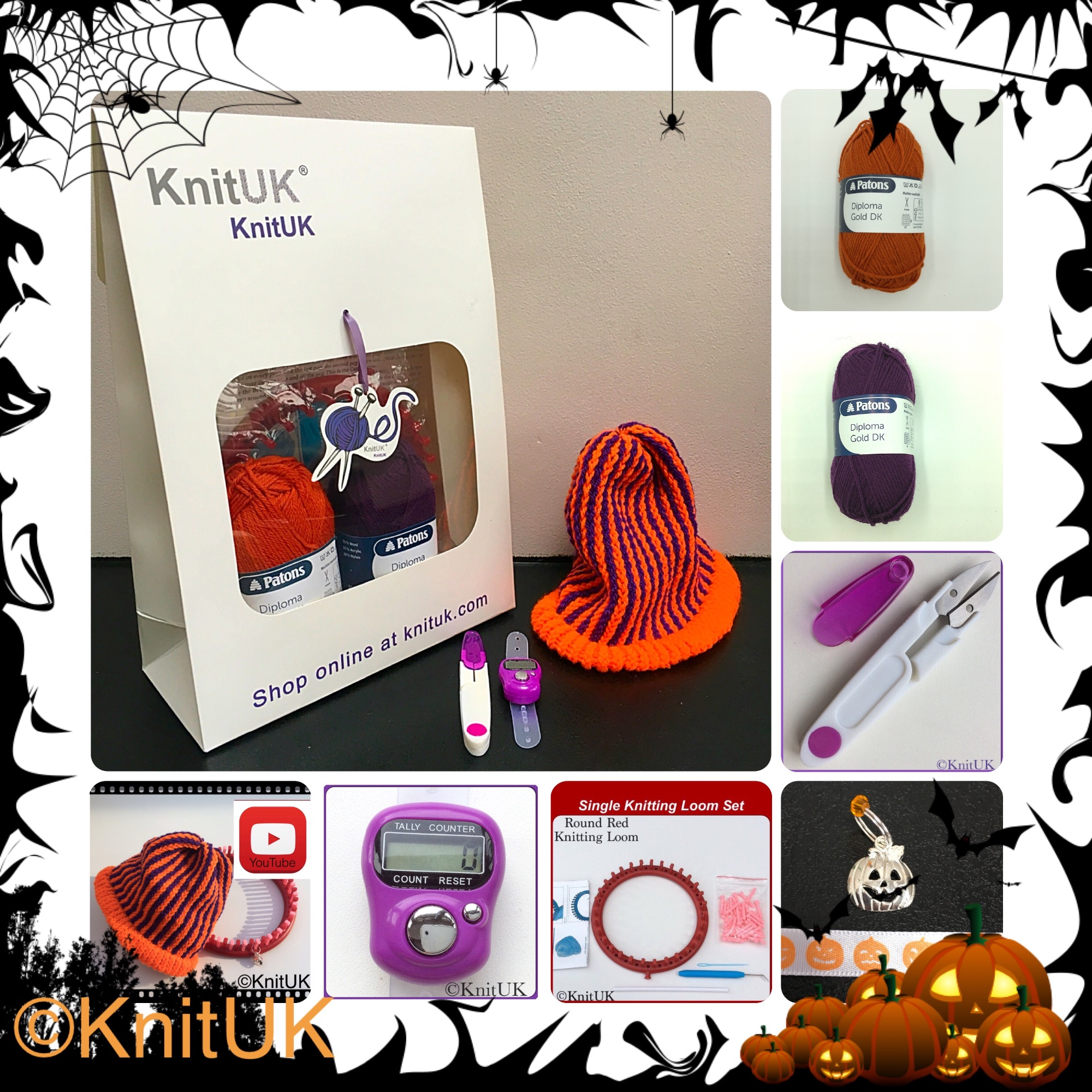 knituk Halloween kit with patons diploma gold dk yarn