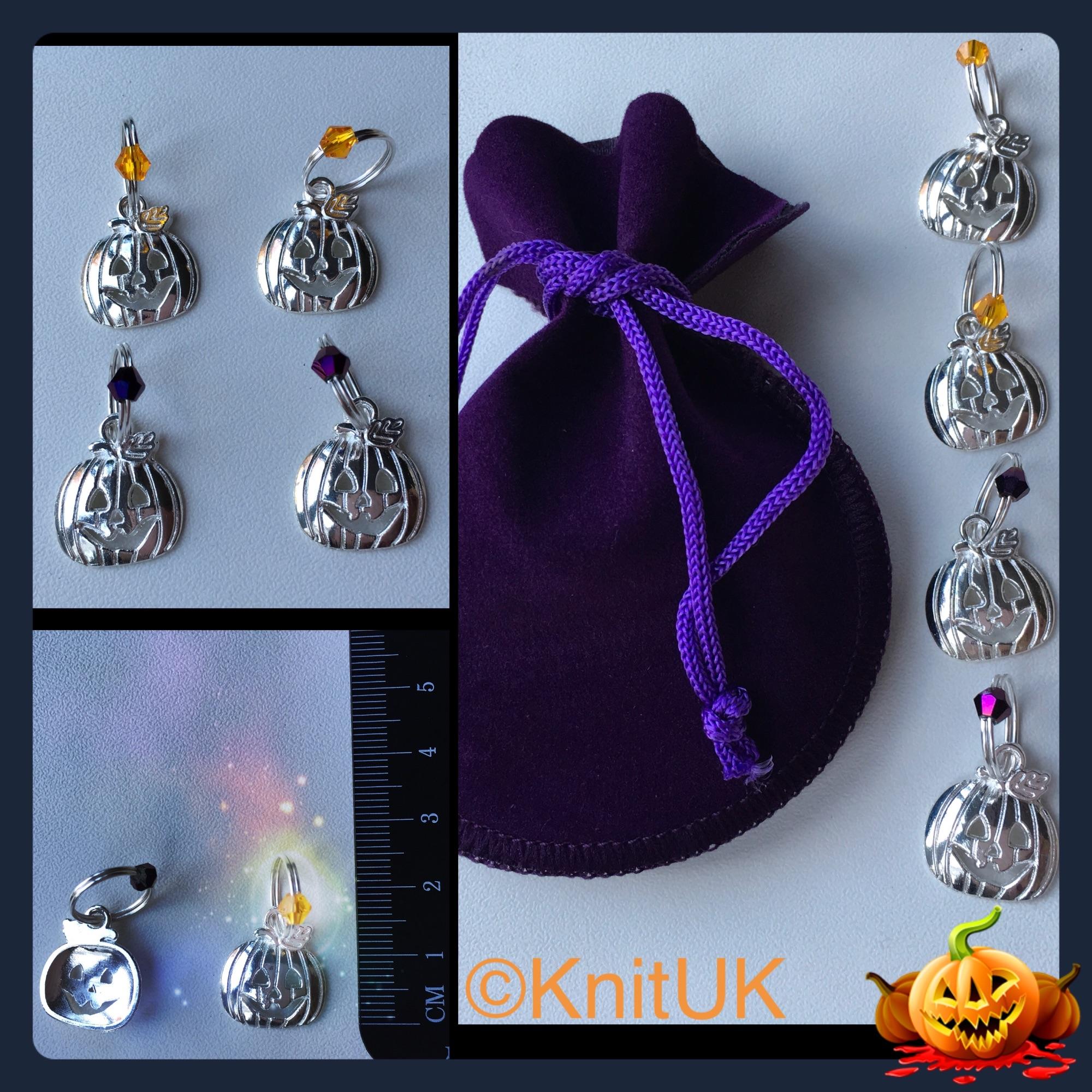 Knituk halloween knitting stitch markers set jack o'lantern