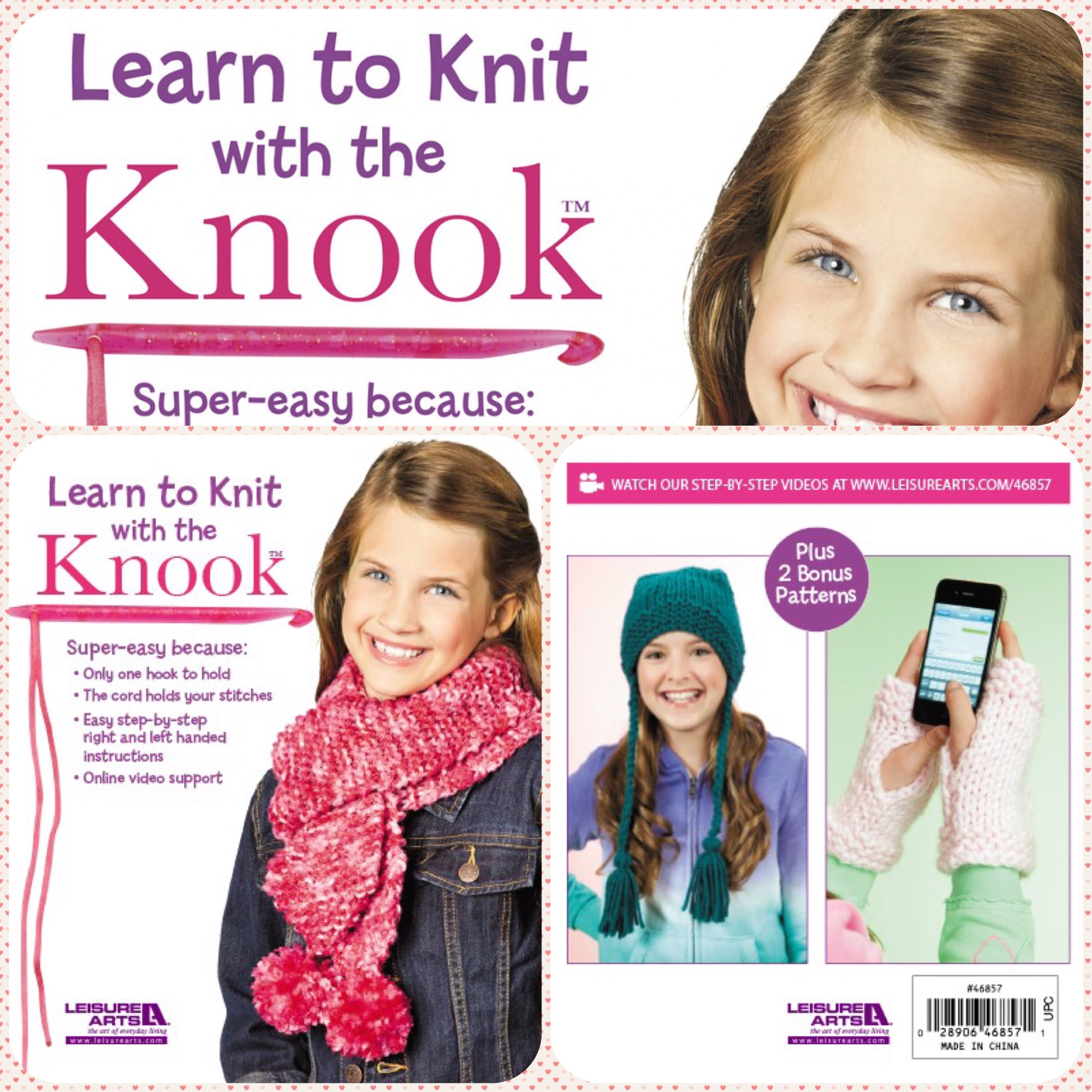 leisure arts learn to knit with the knook kit book