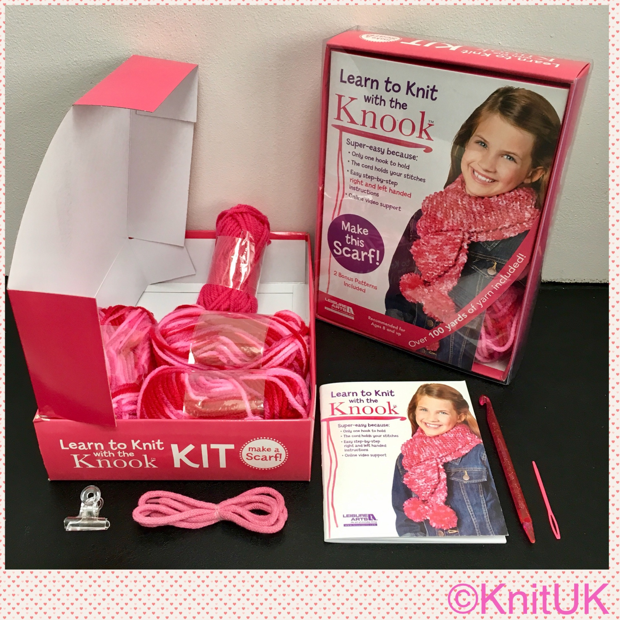 leisure arts learn to onit with the knook kit content