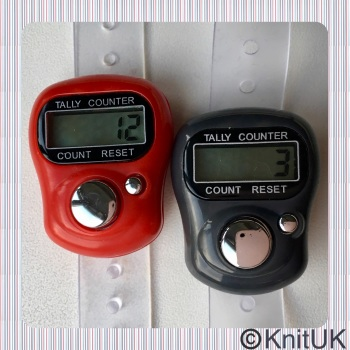 KnitUK Tally Counter Pack of 2 LCD Finger-Held Digital Row Counters. Red & Grey.