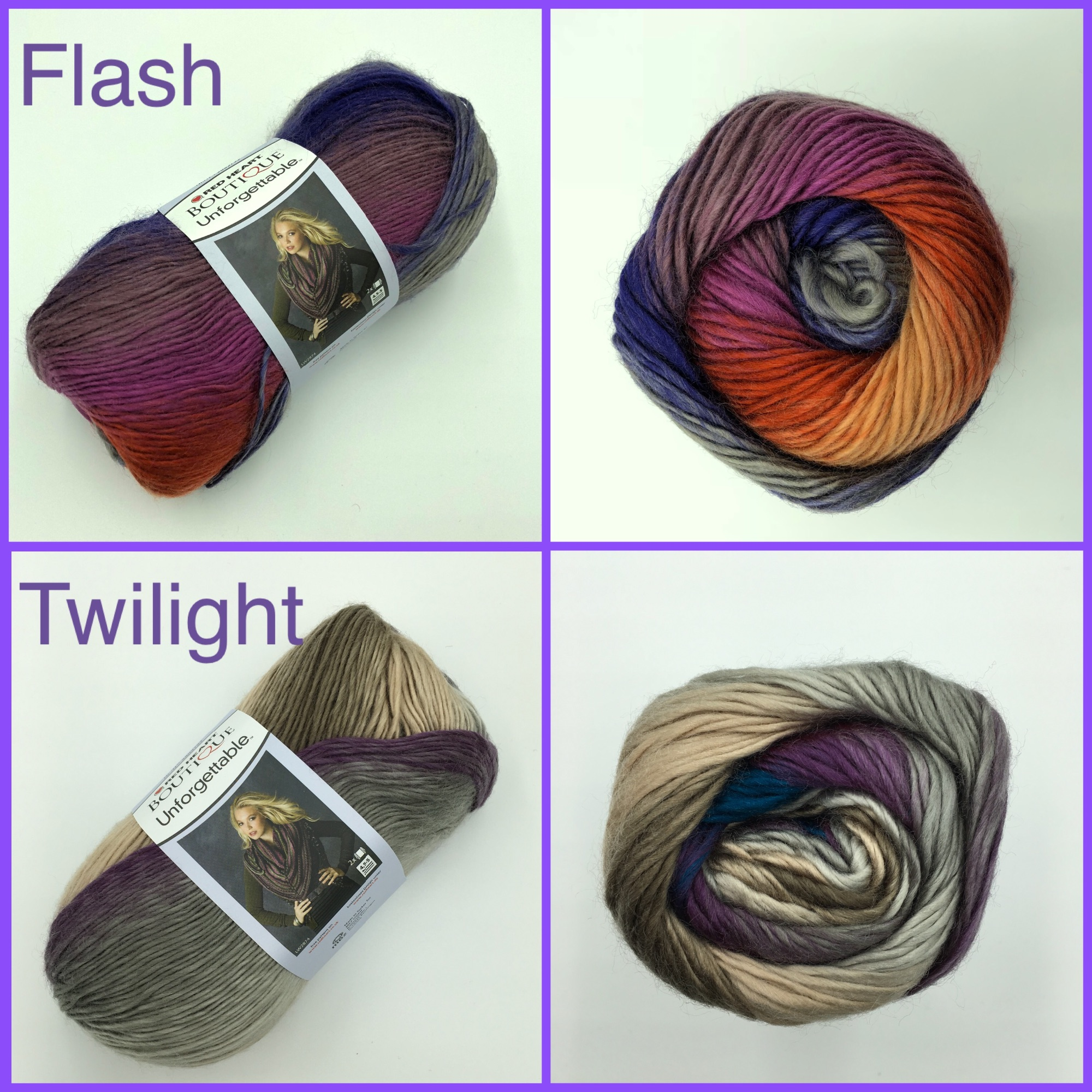 Red heart boutique unforgetable yarn colour flash twilight