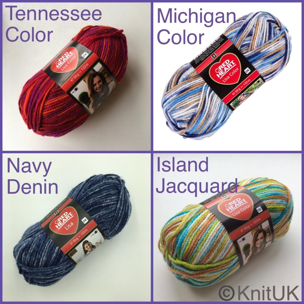 Red heart lisa dk color yarn tennessee navy denin island jacquard michigan