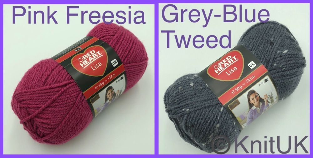 Red Heart Lisa dk yarn pink freesia grey-blue tweed colour