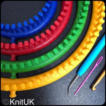 KnitUK Round Knitting Loom Set of 4: with pegs all-fitted.