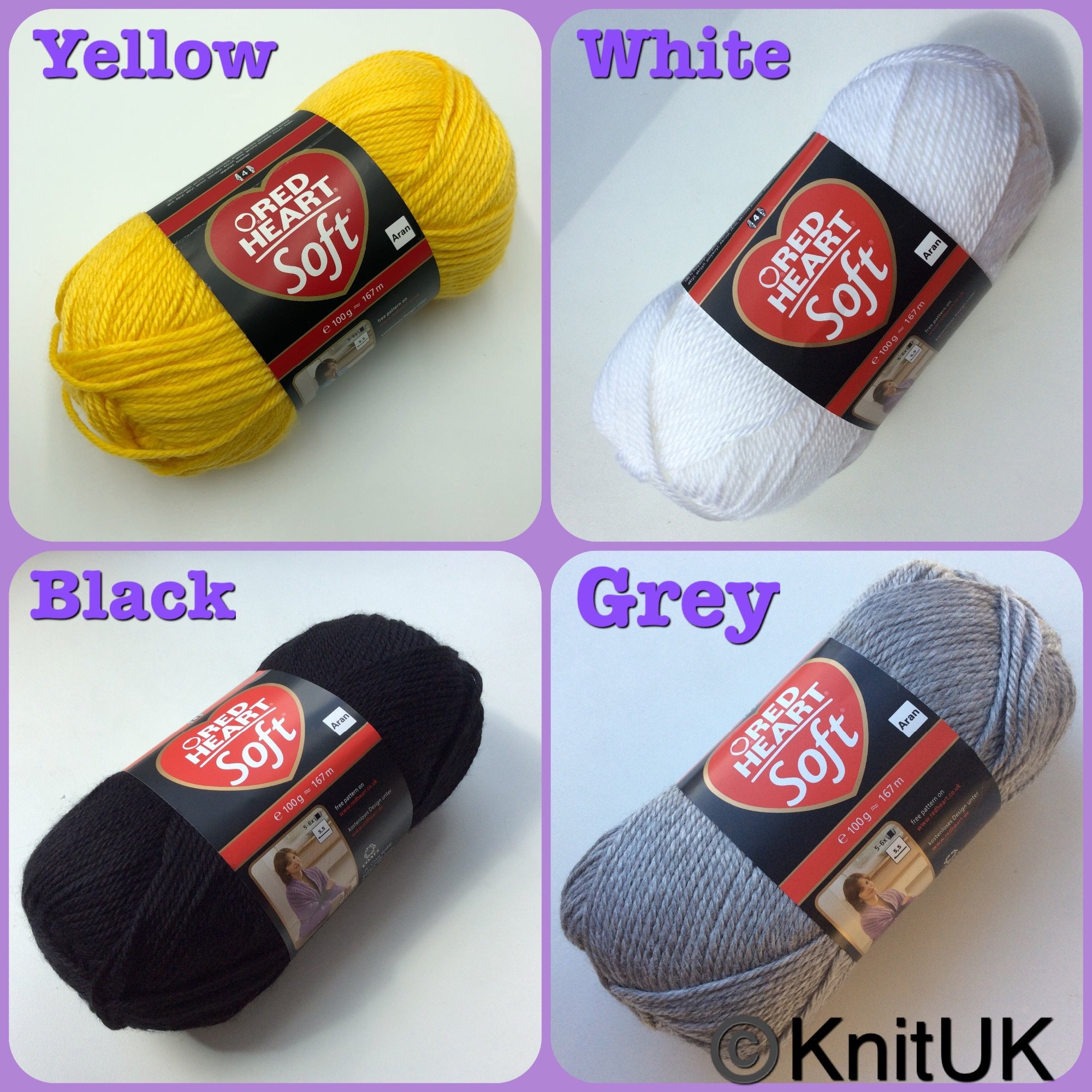 red heart soft yarn yellow black white grey