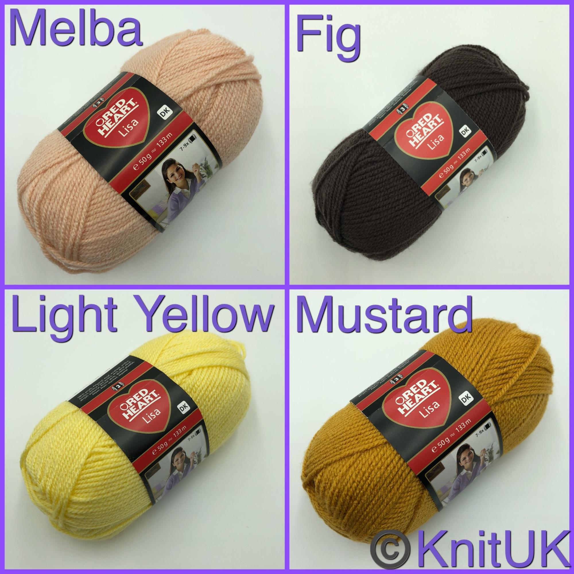 Red heart lisa dk yarn melba fig light yellow mustard colours