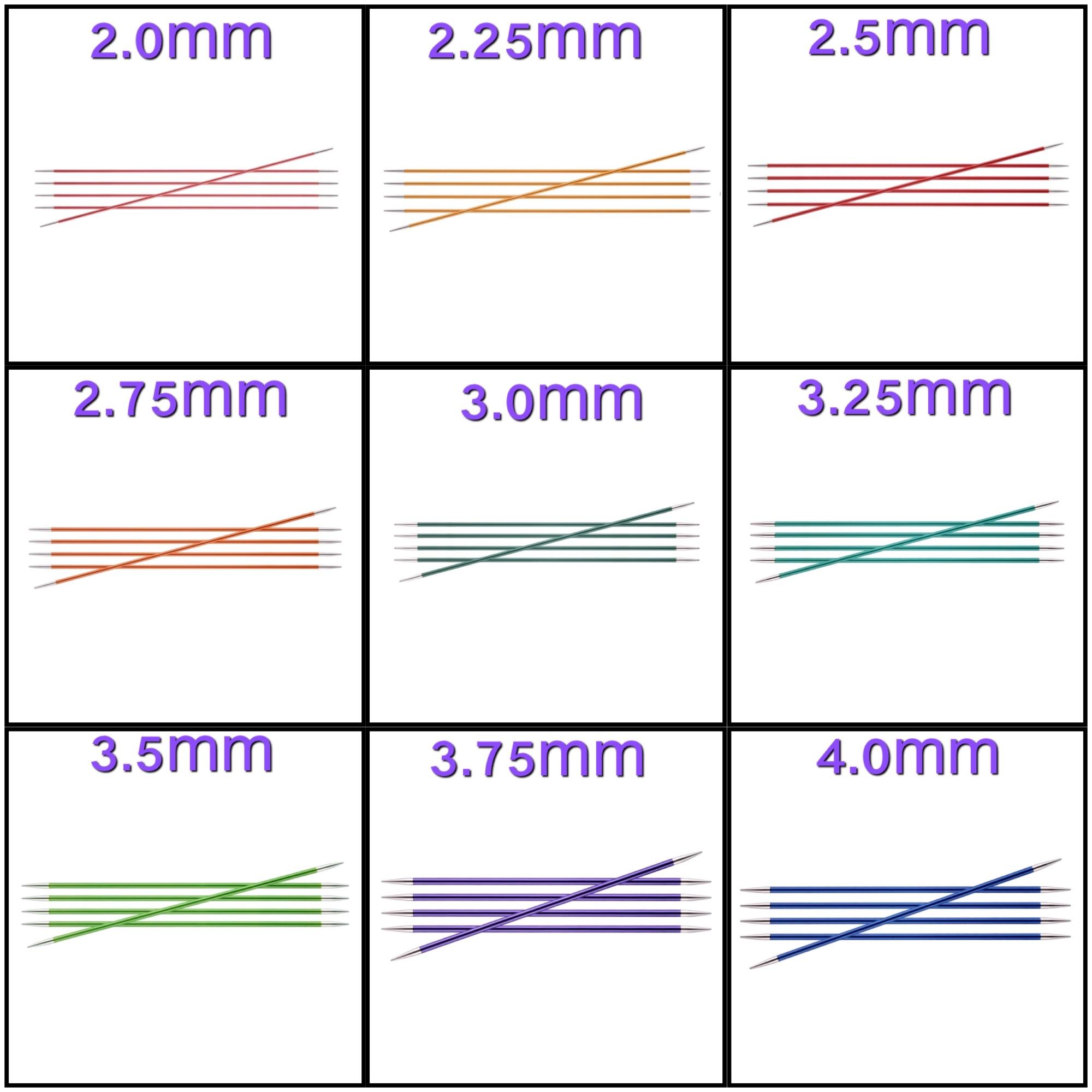 knitpro zing 15cm double point knitting needles set 5 Sizes colours