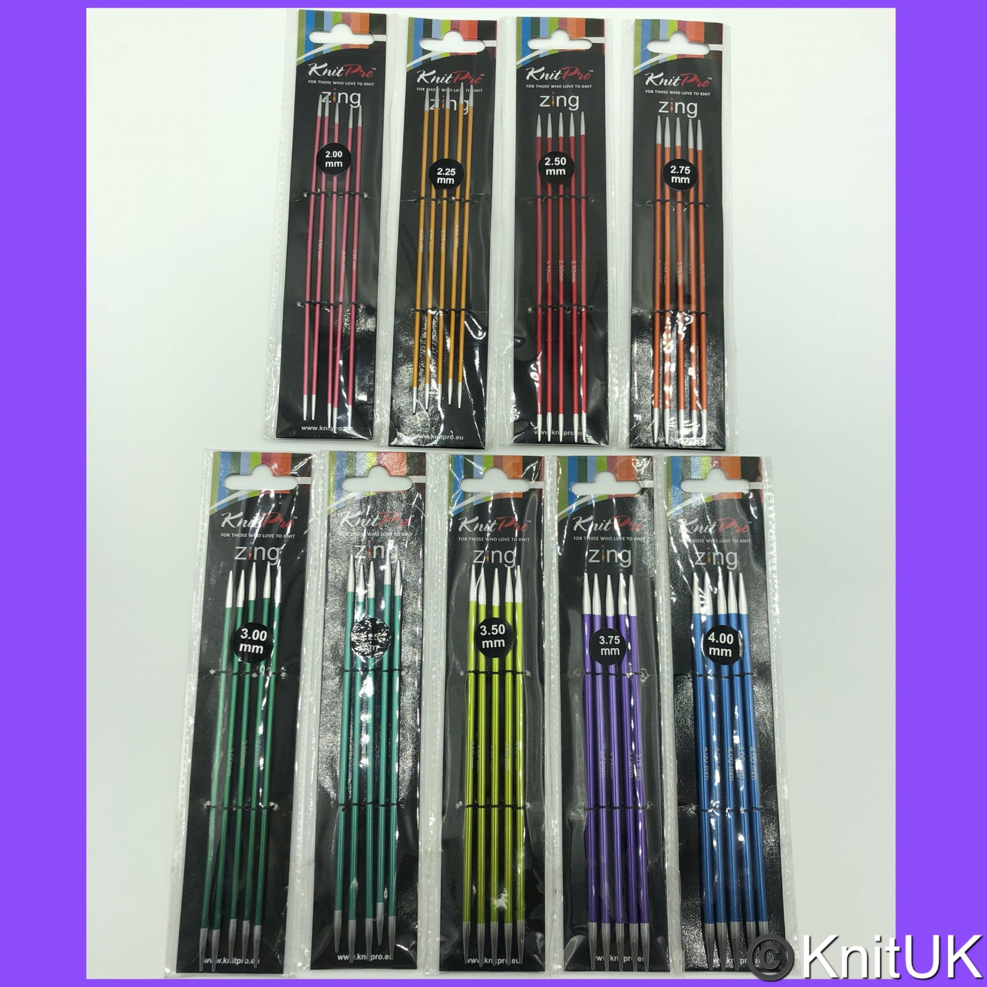 knitpro zing 15cm double point knitting needles set 5 Sizes packaging pictu