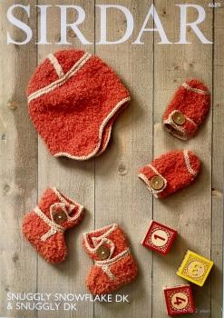 Sirdar pattern: Bootees, Mittens & Helmet in Sirdar Snuggly Snowflake DK & Snuggly DK. Leaflet 4689( Knitting)
