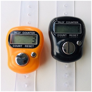 KnitUK Tally Counter Pack of 2 LCD Finger-Held Digital Row Counters. Halloween Special Edition Black & Orange.