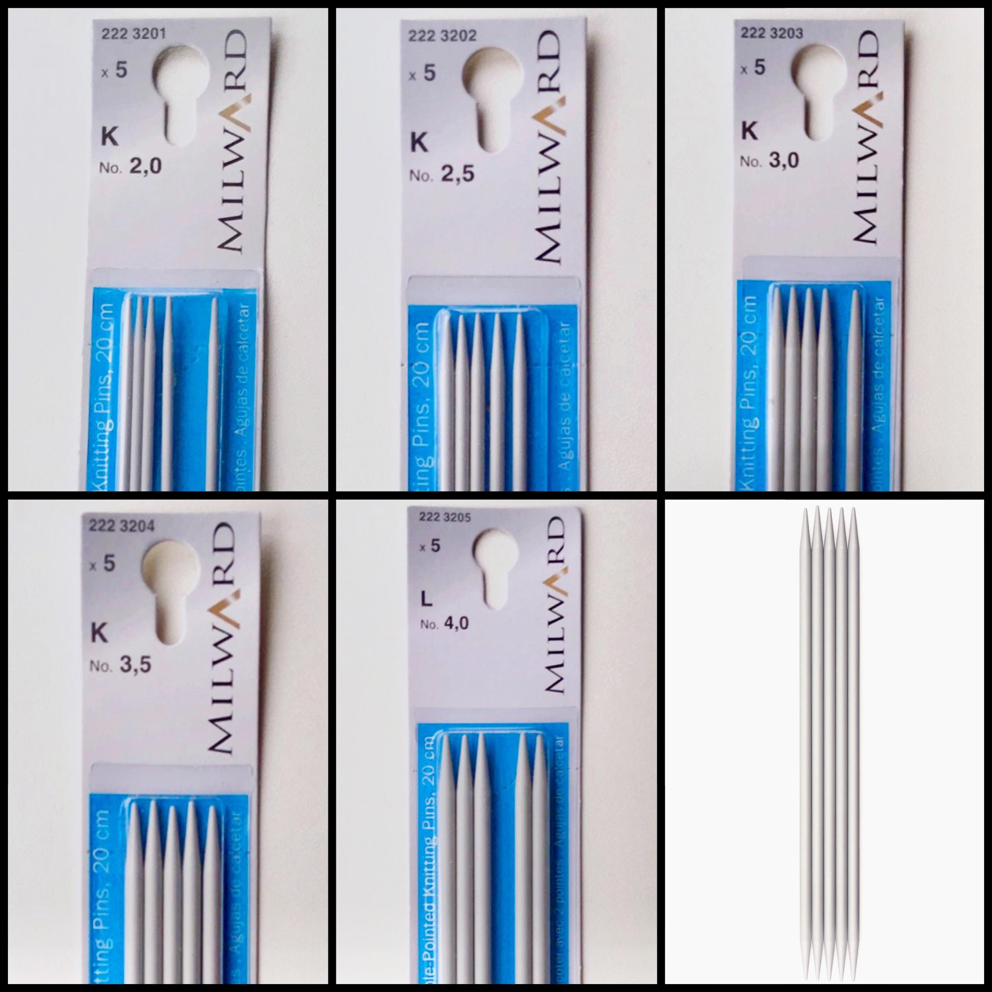 Milward 20cm double end aluminium knitting needles set of 5 sizes