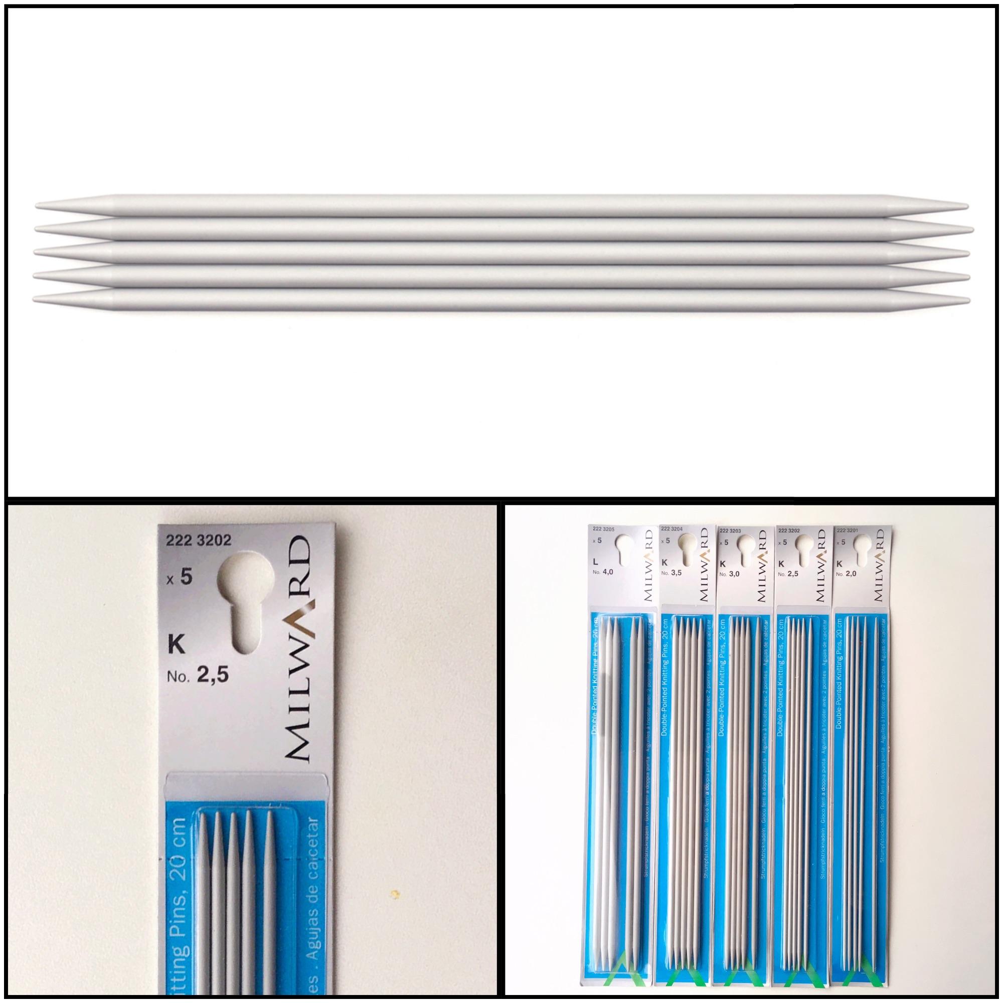 Milward 20cm double end aluminium knitting needles set of 5 in 3 pics