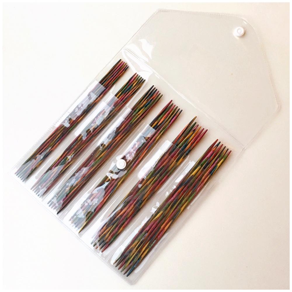KnitPro Symfonie Wood Double Pounted (15cm) Sock Needle Set. 6 x Sets of 6.