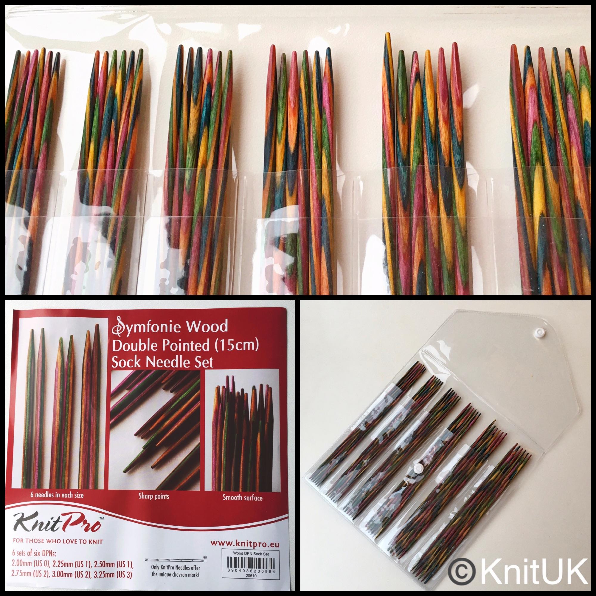 Knitpro symfonie double pointed socks knitting needles set of 6 15cm wooden
