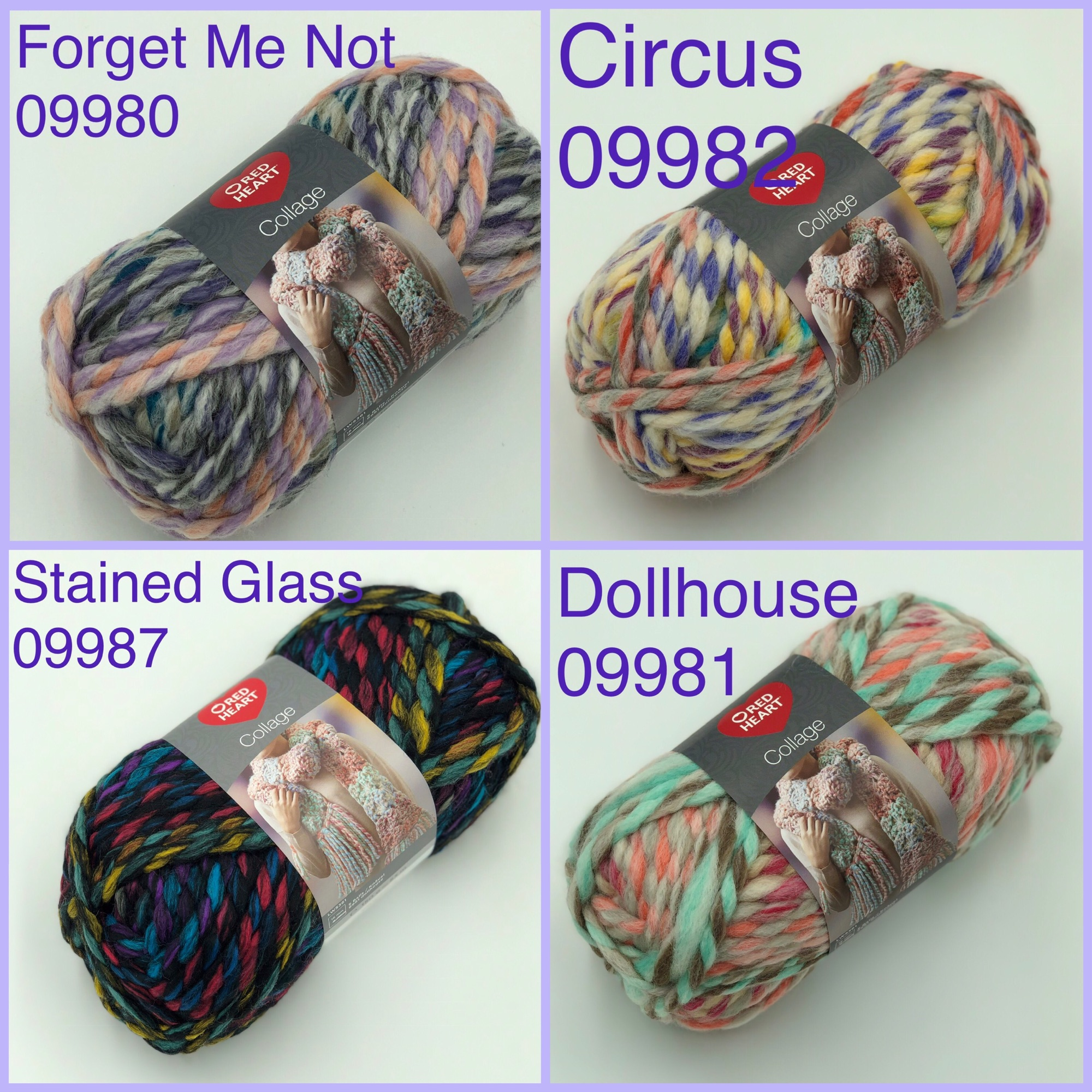 Red heart collage jumbo super chunky yarn colours circus forget me not stai