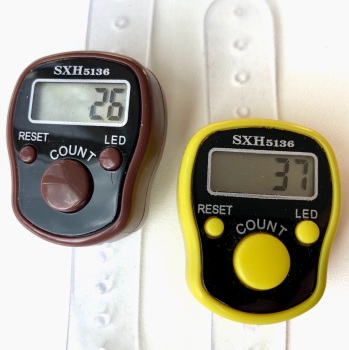 Tally Counter with LED Backlight (Finger-Held). Pack of 2. Chocolate and Custard Knitting Row Counters