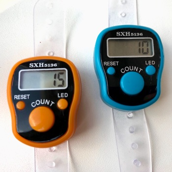 Tally Counter with LED Backlight (Finger-Held). Pack of 2. Turquoise and Orange Knitting Row Counters