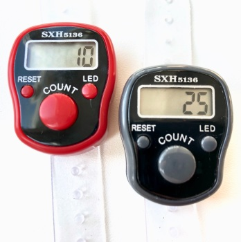Tally Counter with LED Backlight (Finger-Held). Pack of 2. Red and Grey Knitting Row Counters