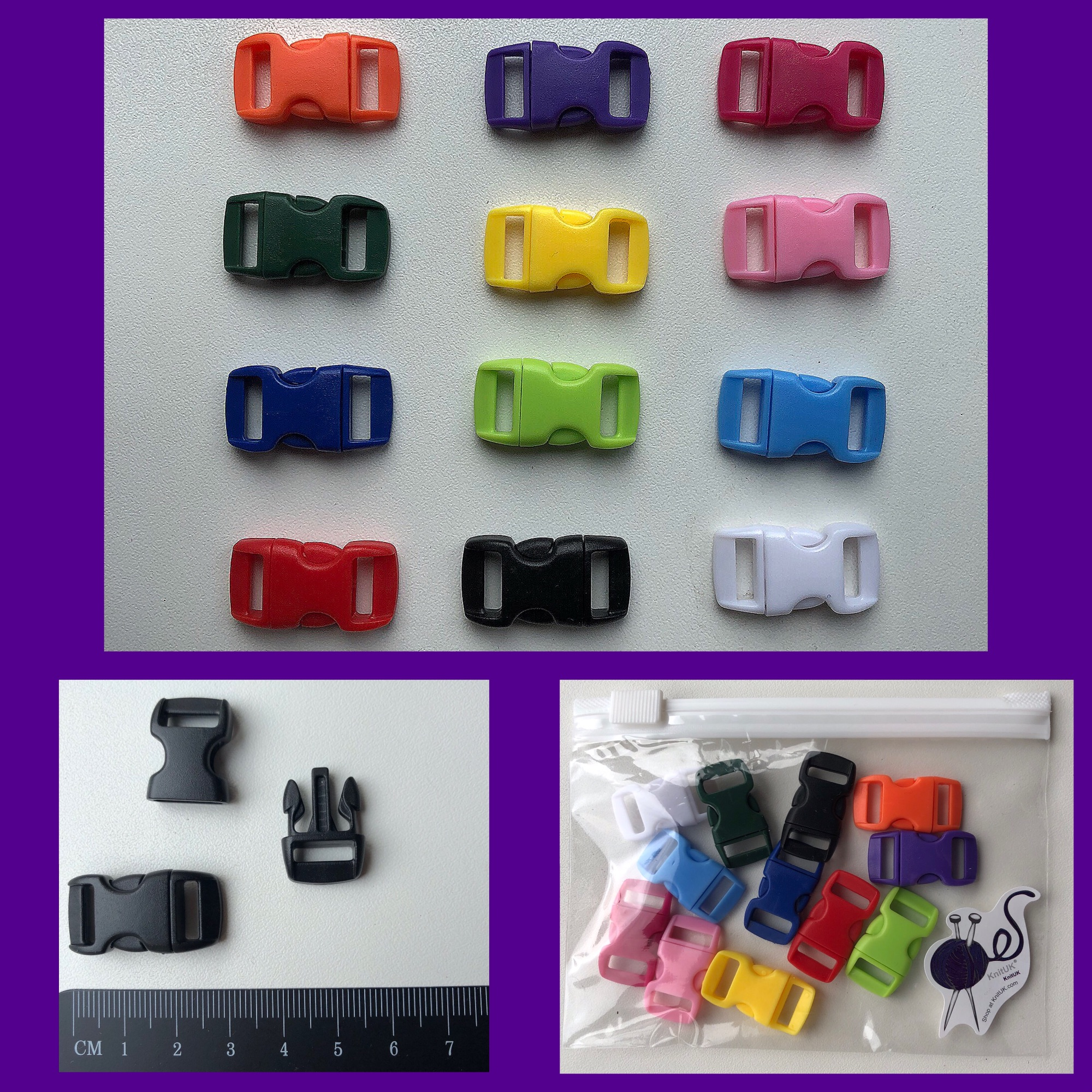knituk plastic buckles for Paracord multicolour pack