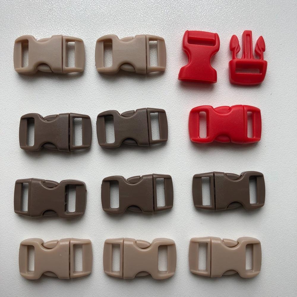Buckles - Beige, Brown & Red. Pack of 12. (KnitUK)