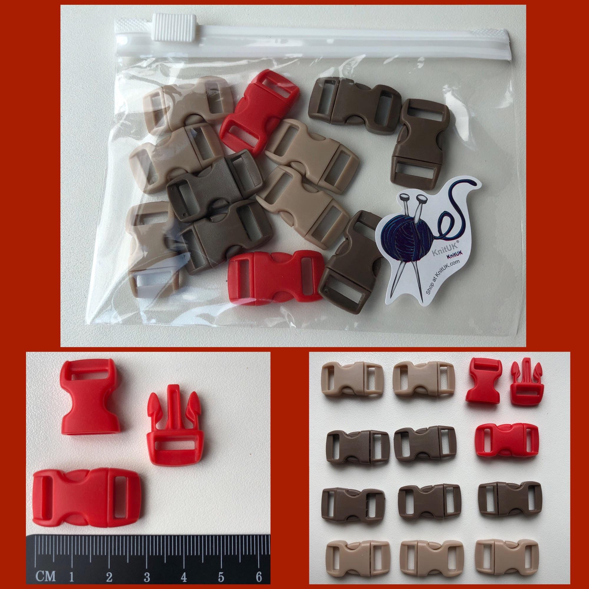 knituk plastic buckles for paracord bracelet beige brown red pack