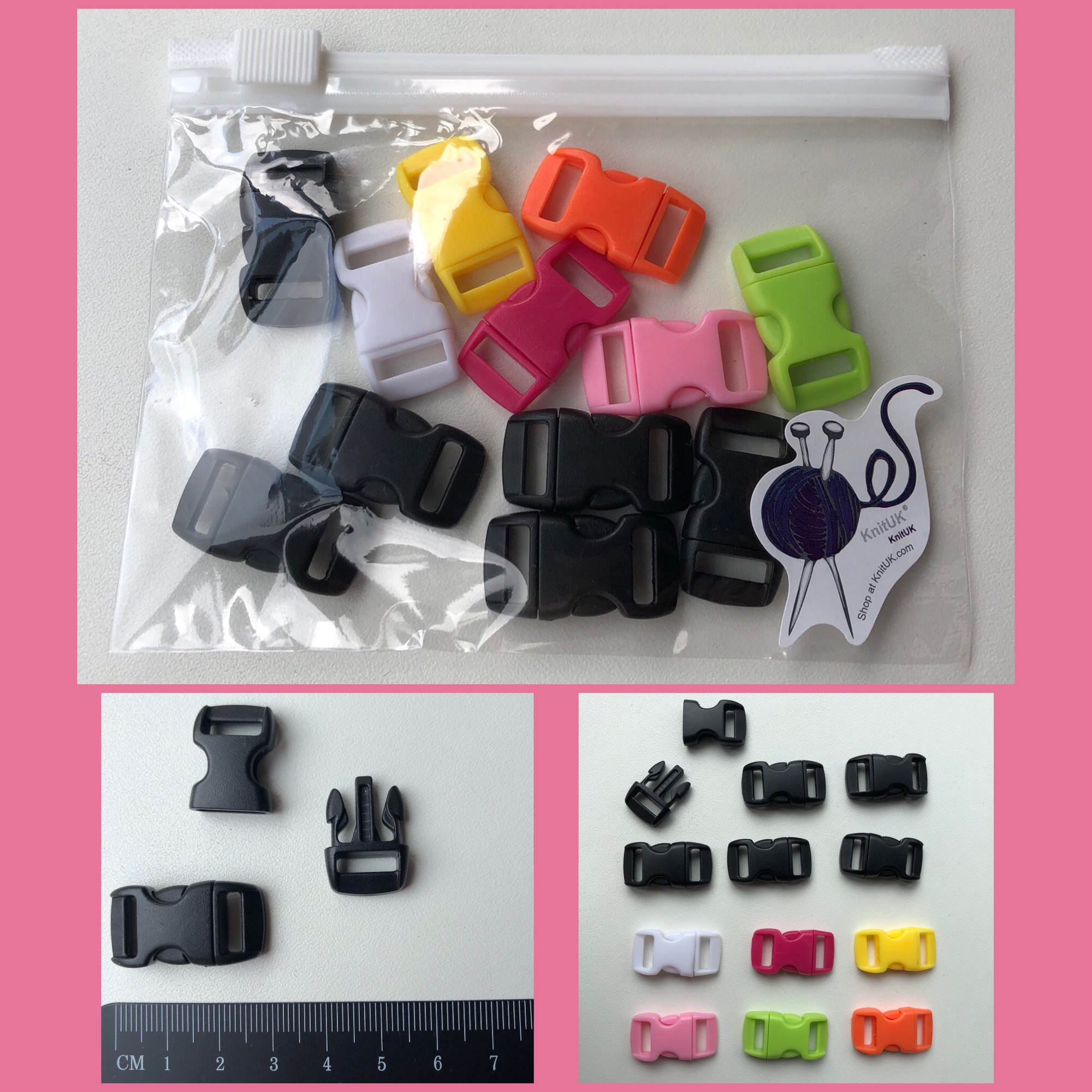 Knituk plasti buckles for paracord bracelet mix colour black 12 pack