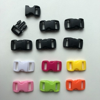 Plastic Buckles - Black & Mixed Colours. Pack of 12. (KnitUK)