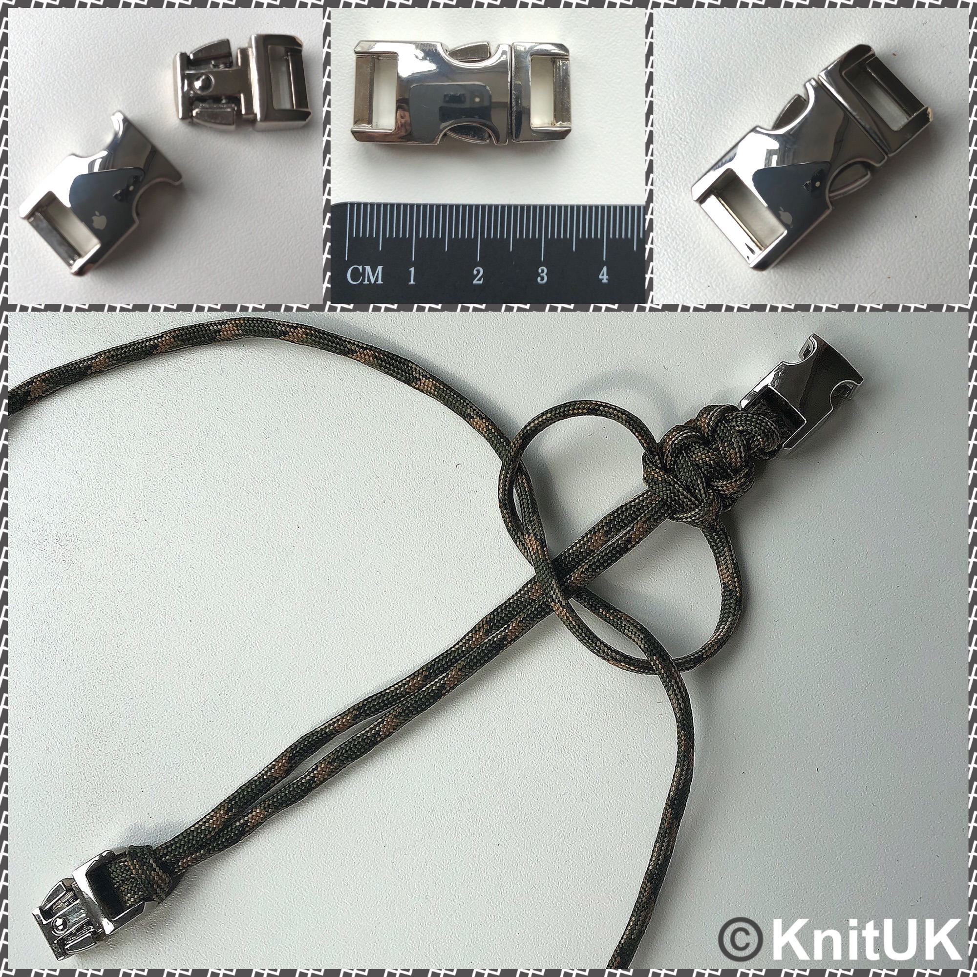 KnitUK metal buckle for paracord bracelet stainless steel colour