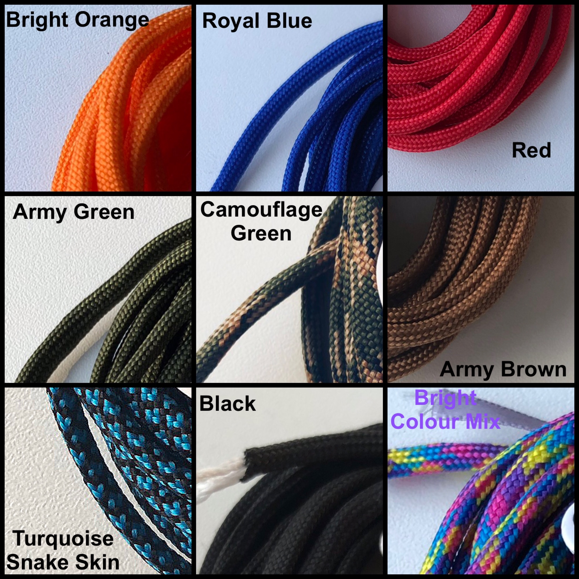 knituk paracord 550 colours zoon